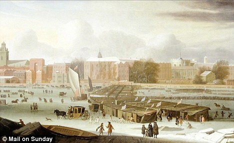 A painting, dated 1684, by Abraham Hondius depicts one of many frost fairs on the River Thames during the mini ice age