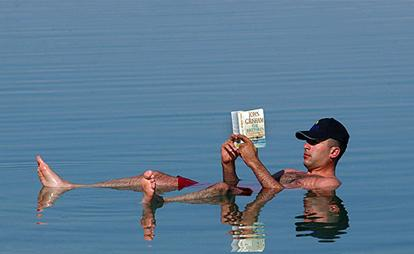 Man floating the in the dead sea, a perfect spot for transdermal therapy