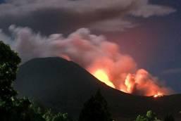 The Lokon volcano erupts near Tomohon