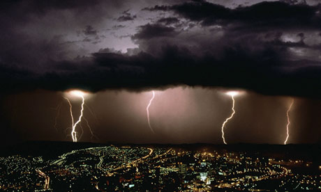 Lightning striking over Cape Town, South Africa
