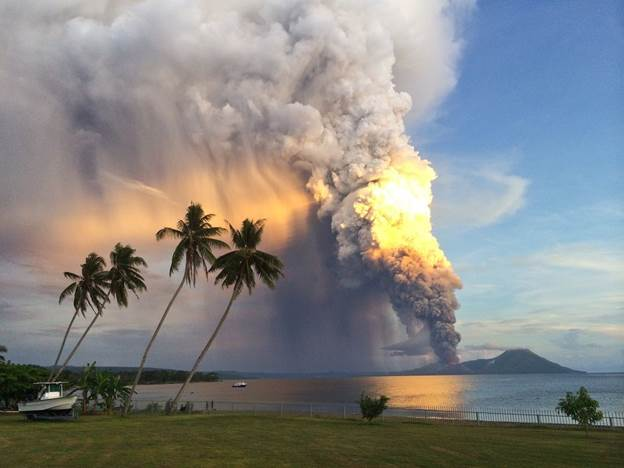 Photo of Mount Tavurvur erupting in eastern Papua New Guinea.