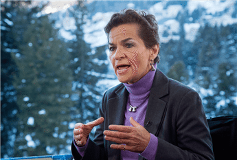 U.N. climate chief Christiana Figueres speaks during an interview at the World Economic Forum in Davos, Switzerland, on Jan. 22, 2014.  AP